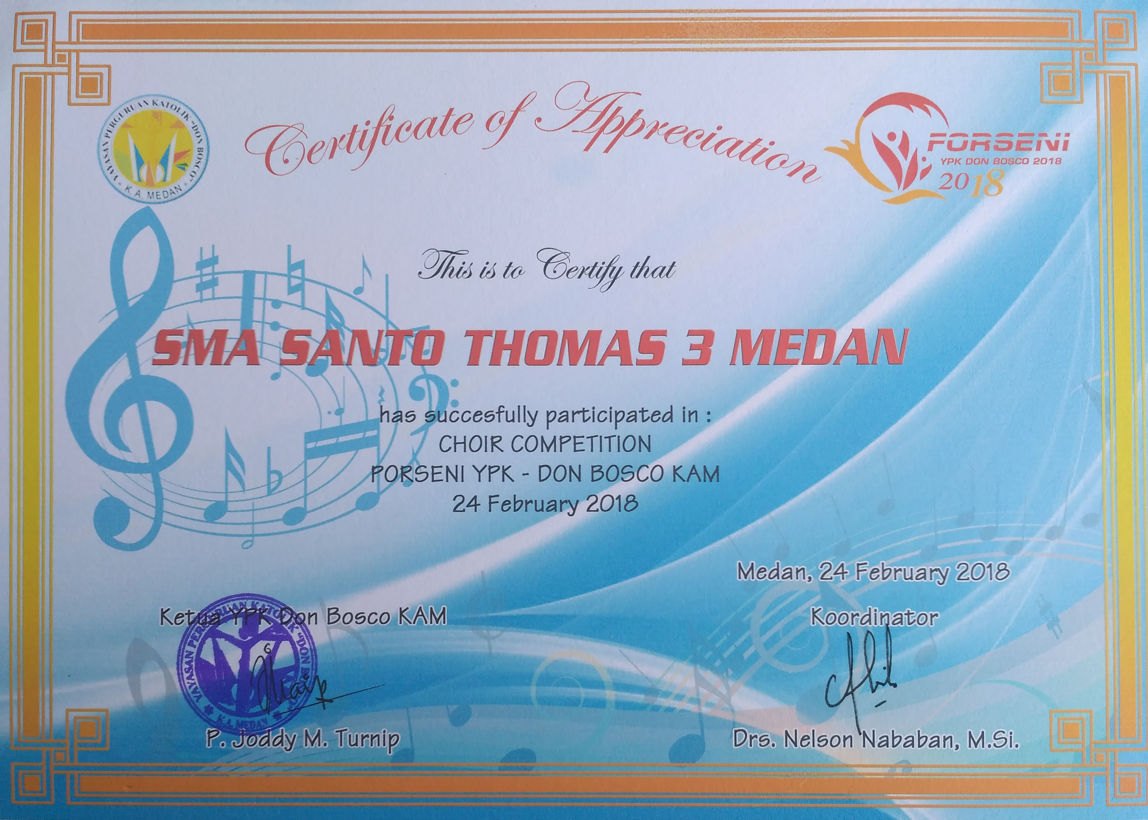 "Juara Harapan 2 Choir Competition ""Porseni YPK Don Bosco KAM 2018"""